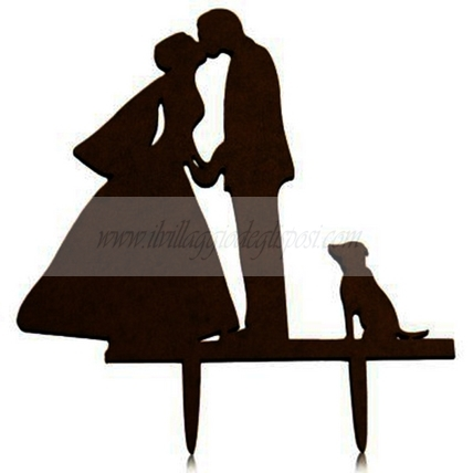 Cake topper silhouette con cane in plexiglass 3 mm nero lucido made in Italy
