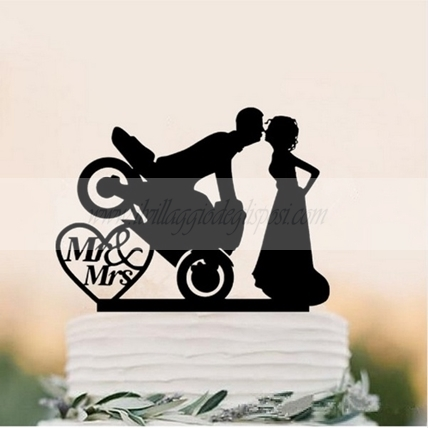 Cake topper Silhouette plexiglass 3mm motociclista BIANCO o NERO made in Italy