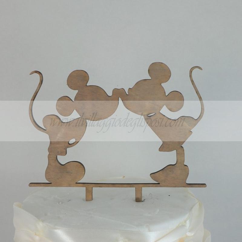Vendita Online Cake Topper Silhouette In Legno Minnie E Topolino