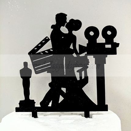 Cake topper silhouette LINEA ROMANCE sposi Hollywood