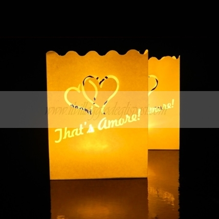 6 Lanterne Candle bags  con cuori That's Amore