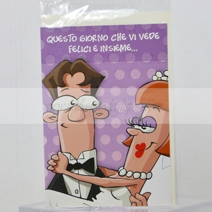 Biglietto d'auguri per matrimonio cartoon