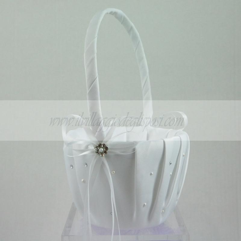 Vendita online cestino per damigella con cristalli e perline bianco