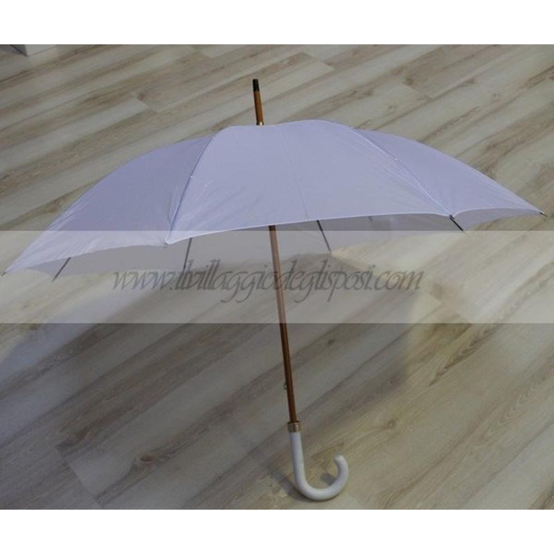 7b9fe32e6fe7 Vendita online Ombrello da sposa bianco asta e puntale in legno