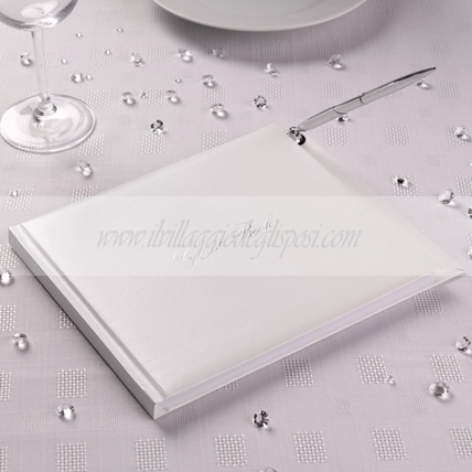 Guestbook bianco con penna